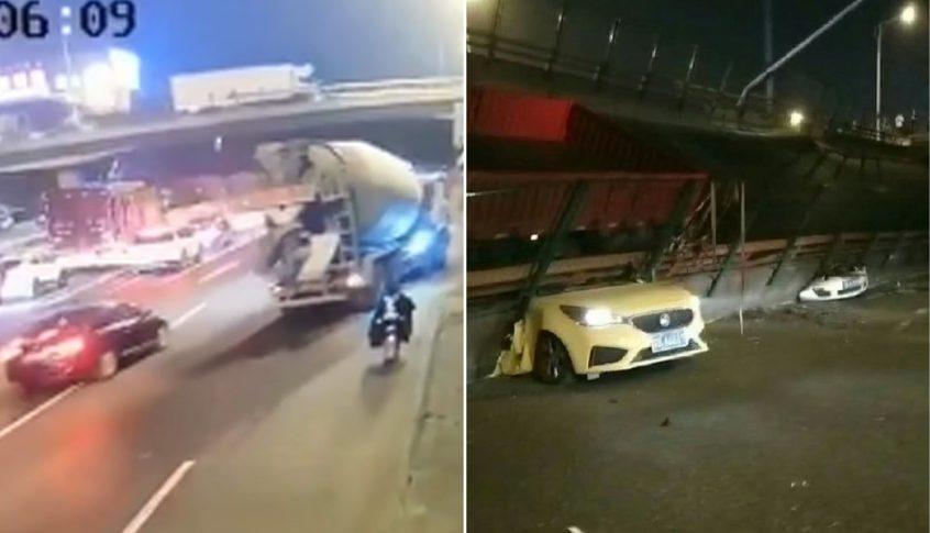 بالفيديو: لحظة انهيار جسر فوق السيارات!