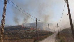 اندلاع النيران في مساحات شاسعة من الأحراج في خراج بلدتي جويا ووادي جيلو
