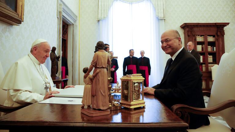 البابا فرنسيس والرئيس العراقي يبحثان التطورات في العراق والمنطقة