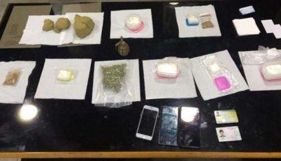 اجز ضهر البيدر يوقف شخصان بحوزتهما كمية من المخدرات وقنبلة يدوية جاهزة للإستعمال
