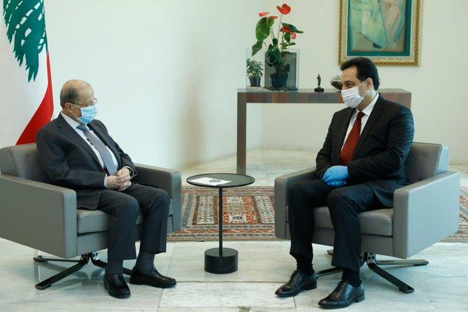 الرئيس عون يلتقي دياب في قصر بعبدا قبيل اجتماعهما مع سفراء الدول الخمس الكبرى الدائمة العضوية في مجلس الأمن