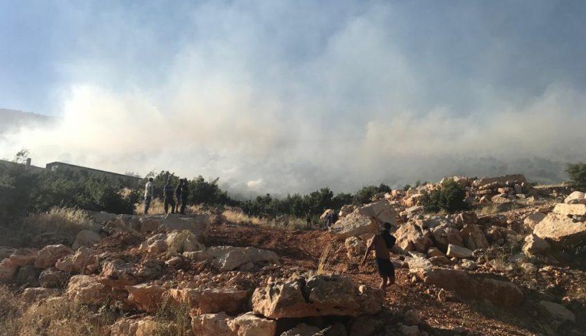 حريق هائل في أحراج السنديان بجرود بلدة بوداي