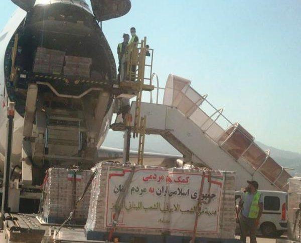 وصول طائرة مساعدات طبية إيرانية الى القاعدة الجوية في المطار