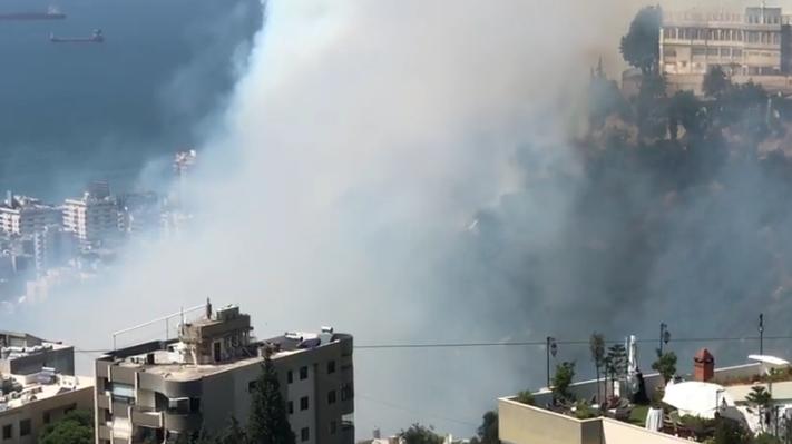 حريق كبير قرب دير الصليب…والمستشفى يخلي المباني وينقل المرضى