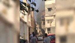 بالفيديو: اندلاع حريق كبير في معمل دهانات في الاوزاعي