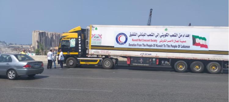 وصول 6 شاحنات كويتية محملة بالمستلزمات الطبية والعينية