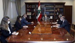 """الرئيس عون لـ""""كوبيتش"""": نأمل الوصول الى اتفاق يحفظ حقوق لبنان من خلال مفاوضات ترسيم الحدود"""
