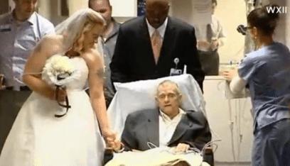 أميركية تقيم زفافها في المستشفى الذي يحتضر فيه والدها