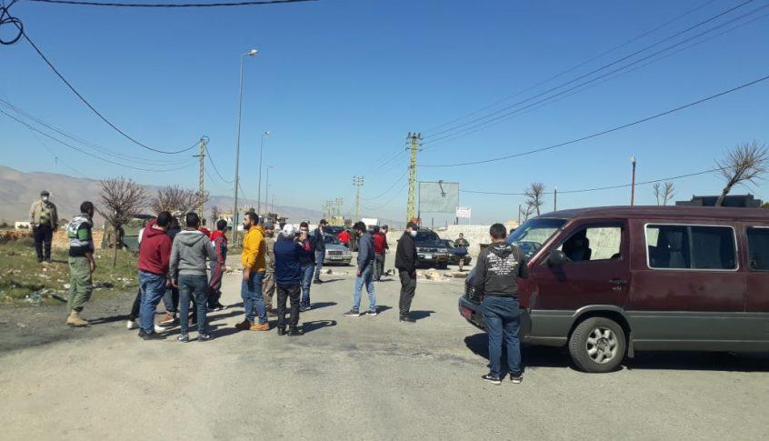 قطع الطريق الدولية عند مفرق رأس بعلبك