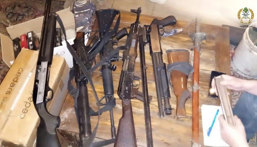 الجيش: عمليات دهم في كفرزبد-البقاع وضبط كمية من الاسلحة