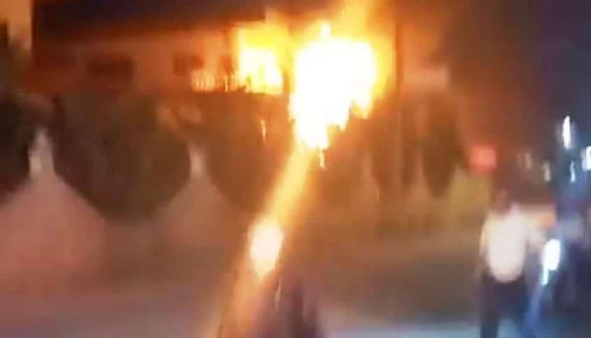 الدفاع المدني اهمد حريقا شب في صهريج للمحروقات في وادي خالد