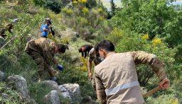 الجيش يشارك في حملة تنظيف لقسم من غابة صغبين-البقاع الغربي لحمايتها من الحرائق