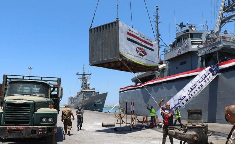 305 أطنان مساعدات غذائية هبة من القوات المسلحة المصرية الى الجيش