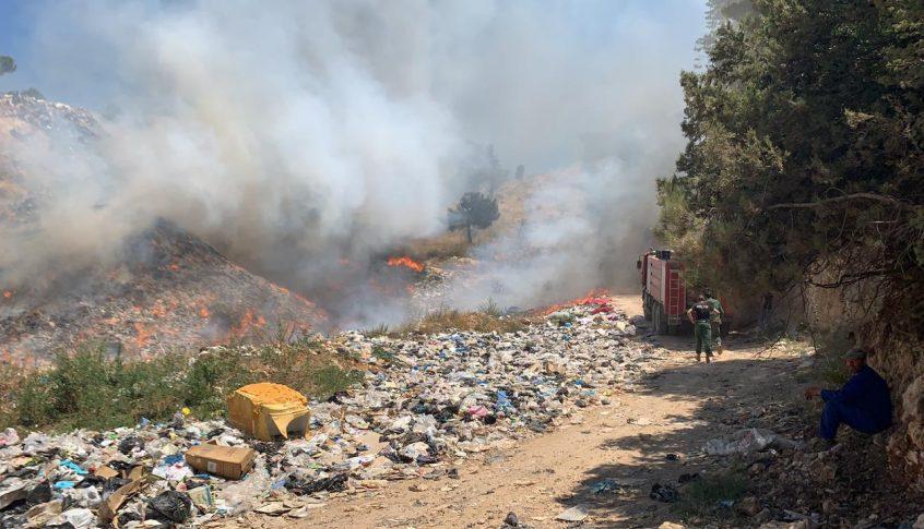 حريق كبير في مكب نفايات في فنيدق-عكار