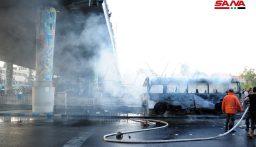 13 قتيلاً و3 جرحى باستهداف حافلة للجيش السوري وسط دمشق
